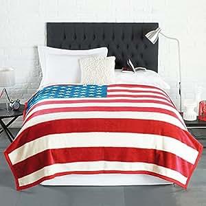Stars and Stripes Tagesdecke, Kuscheldecke USA, Amerika, ca. 200 cm x 200 cm
