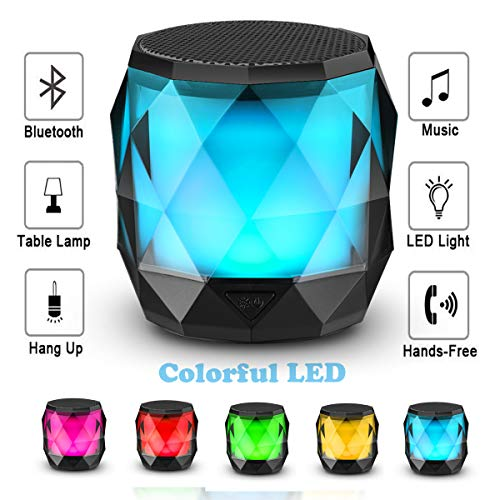 LED Haut-Parleur Bluetooth, Mini Portable 4,2 intégré MIC, Handsfree, Lecteur de Musique pour téléphones samrt, Noir