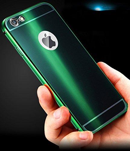 DBIT Haute Qualité Aluminium Métal Cadre Miroir de Placage Étui Coque pour Apple iPhone 6 6s iPhone 6s Housse Phone Sacs avec Dbit la poussière brancher stylet capacitif Rose-Or Vert