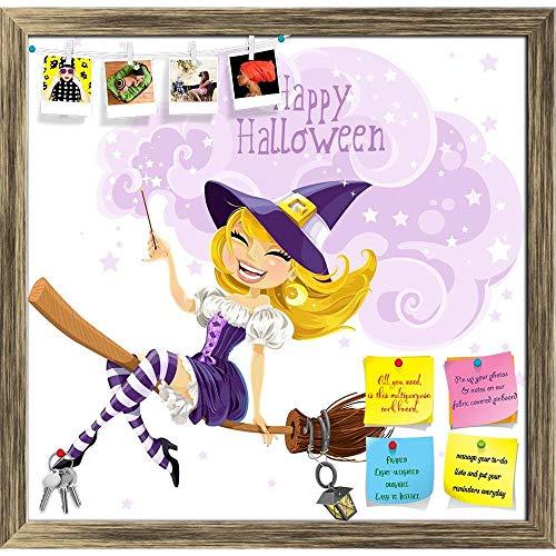 Artzfolio Happy Halloween D2 Printed Bulletin Board Notice Pin Board | Antique Golden Frame 20.6 X 20Inch (Ag Gold Halloween)