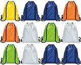 Unsere Set von Kordelzug Taschen Rucksack für Erwachsene und Kinder PE Schule Schwimmen Mädchen Jungen Rucksack Party Swim Sack Gym Sport Outdoor Aktivitäten–Blau–Grün–Orange–Gelb–Grau–verschiedenen Farben