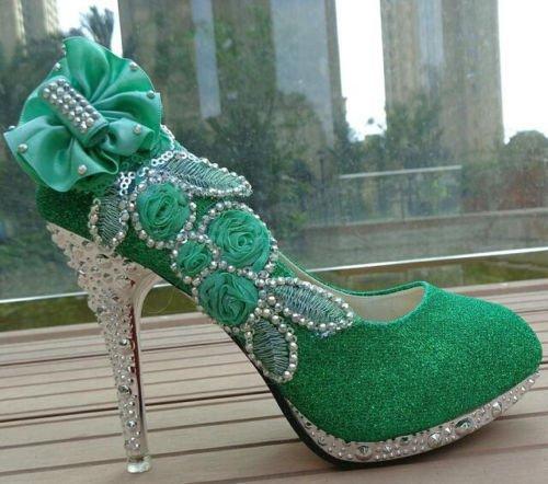 XINJING-S HOT-Glitzer wunderschöne Hochzeit Braut Abend Party Crystal High Heels Damen Schuhe Grün