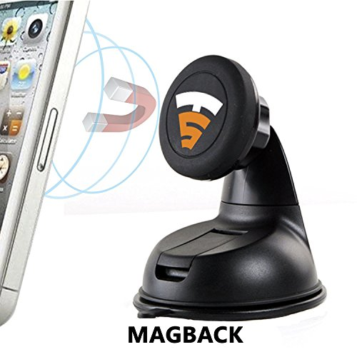 Tech Sense Lab® MagBack Car Mount ✔ Universal Magnetic Car Mount Holder, Windshield Mount and Dashboard Mount Holder for Cell Phones and Mini Tablets, Magnetic Mobile Phone Mount, Magnetic Car Mount - 100% Satisfaction Guaranteed ✔