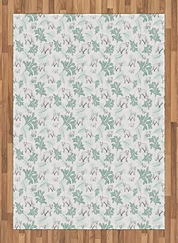 ABAKUHAUS Tier Teppich, Arctic Fox und Pflanzen AST, Deko-Teppich Digitaldruck, Färben mit langfristigen Halt, 160 x 230 cm, Laural Grünes Mandelgrün