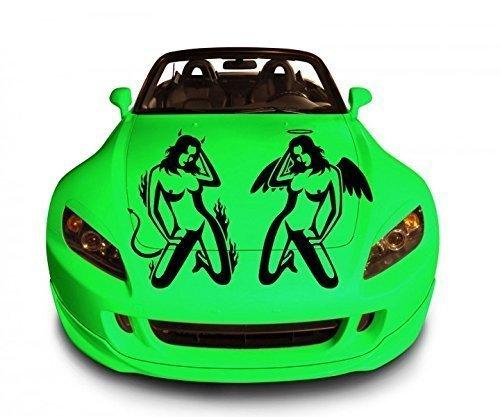 Autoaufkleber sexy Frau Engel Teufel Tattoo Liebe Auto Sticker Aufkleber 1A138, Farbe:Pastellorange glanz;Breite vom Motiv:50cm