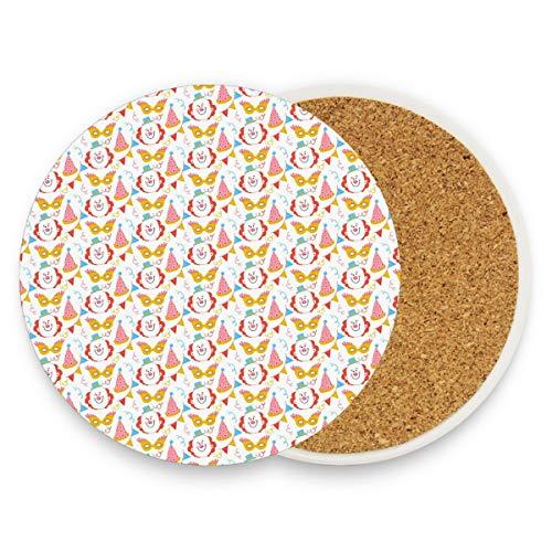 Clownhut Maske Konfetti rund saugfähig Keramik Stein Getränkeuntersetzer Kaffeetasse Matten-Set für Home Office Bar Küche (Set von 1 Stück), keramik, multi, 4er-Set