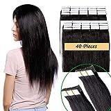 Extension Capelli Veri Biadesive 40 Fasce 100g con Biadesivo Tape Extension Adesive 55cm 100% Remy Human Hair 2.5g/Fascia (#1B Nero Naturale 22')
