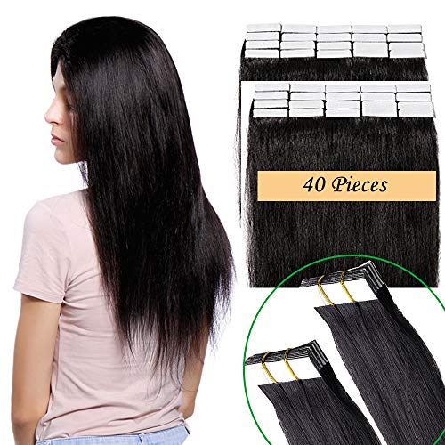 40 fasce extension biadesive capelli veri 100g tape extension adesive 55cm 100% remy human hair 2.5g/fascia (#1b nero naturale 22