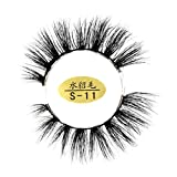 Fashion 3D False Eyelashes ,Sansee Natural Soft 3D Eyelashes 100% faux Mink Hand-made False Lashes Thick Eye Lashes Makeup Extension 1 Pair (Black C)