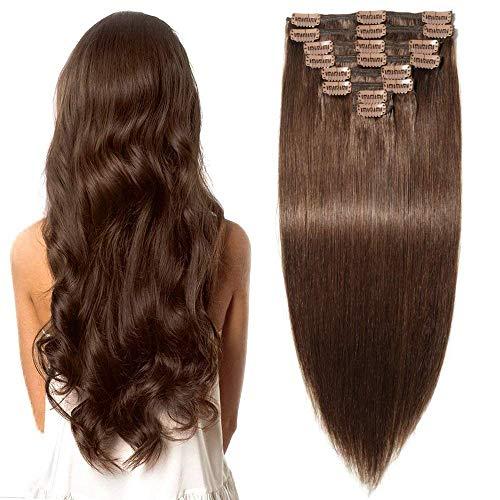 Clip in Extensions Echthaar Remy Haarverlängerung für komplette Haare 8 Tressen Doppelt Dicke 40cm-130g(#4 Schokobraun)