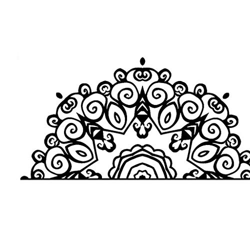 Halbmandala Wandtattoo Vinyl Aufkleber Kopf Bett Master Schlafzimmer Dekoration Yoga Studio 58x115 Cm (Farbe : 58x115cm) - Bett Master-schlafzimmer