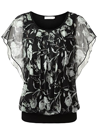 BaiShengGT Women's Floral Print Ruched Front Round Neck Flounced Sleeve Top