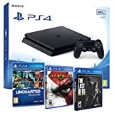 Playstation 4 Consola PS4 Slim 500gb + 5 Juegos - The Last of us + God of war 3 + Uncharted Nathan Drake Collection - MEGAPACK