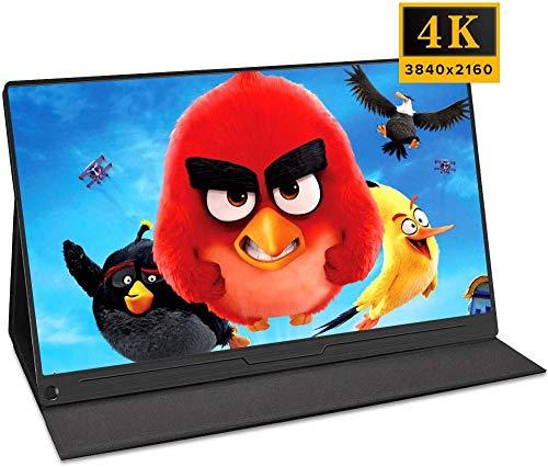 """Gaming Monitor, 39,6 cm (15.6"""") Tragbarer Display IPS 4K HDR mit Eingänge OTG HDMI Typ-C Mini DP Schnittstelle Zwei Lautsprecher für Laptop Switch Mac Windows PS3 PS4 Xbox Game Console Raspberry Pi"""