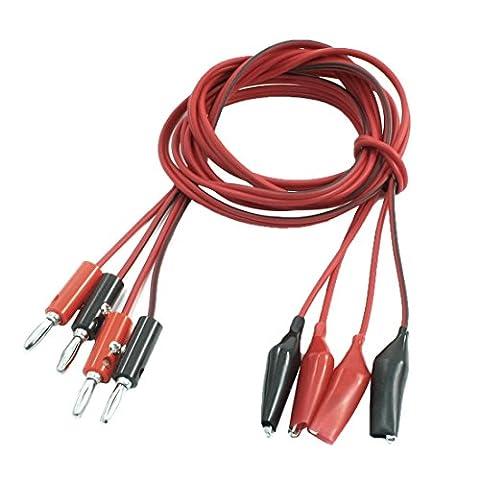 Lot de 2 Paires de câbles de Test Alligator Pince pour fiche banane mâle Câble 1 m