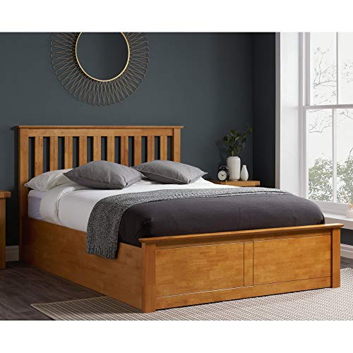 Happy Beds Phoenix Ottoman Bed Oak Finish Modern Frame Bedroom Comfort 4'6'' Double 135 x 190 cm