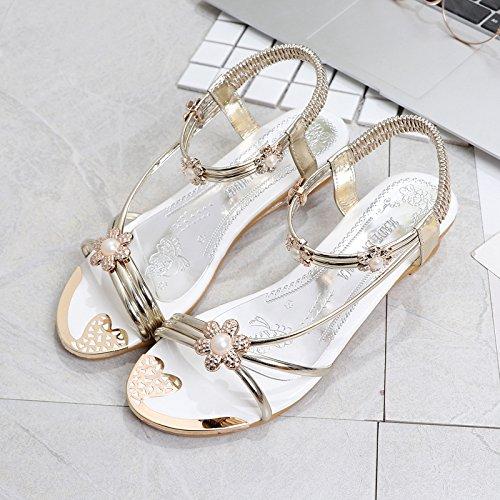 XY&GKDamen Sommer Sandalen Schuhe Pearl 38 gold
