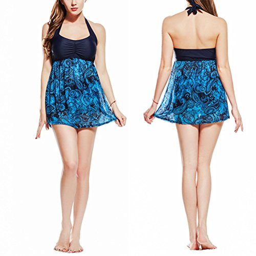 Zhhlaixing Womens Plus Size Swimdress Skirted Costume da bagno Spiaggia Retro Halterneck Bathing Suits with Boyshort Lake Blue