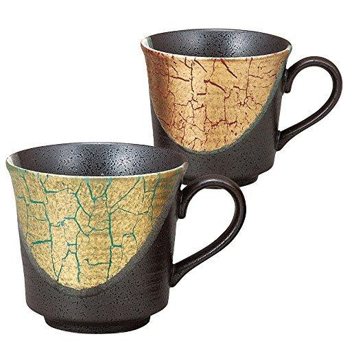 Kutani pottery mugs pair gold leaf color (japan import)