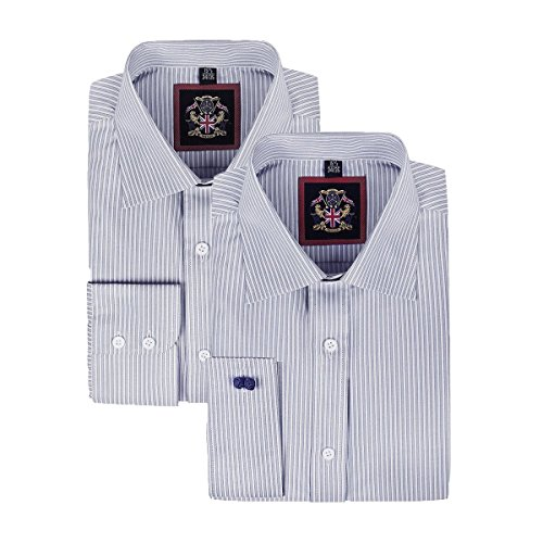 Janeo British Apparel di marca, Classic Windsor belle uomo camicia a righe, singolo e doppio polsino manica – Janeo mens Shirts Grey (Single)