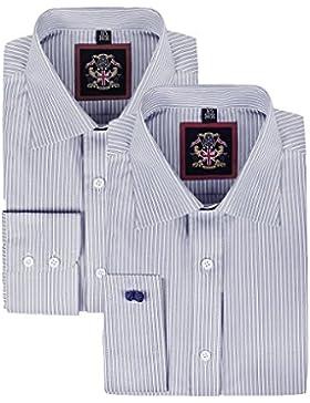 Janeo British Apparel di marca, Classic Windsor belle uomo camicia a righe, singolo e doppio polsino manica–...