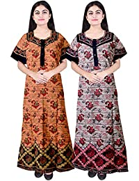 Silver Organisation Women's Cotton Printed Nighty (Multicolor, Free Size) Combo Pack of 2 Peice