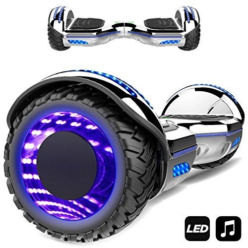 Markboard gyropode 6.5 Pouces Bluetooth MS6, Gyropode avec Pneu à LED de Couleur, Smart Scooter Électrique Auto-équilibrage EL-ES01(argenté)