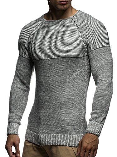 LEIF NELSON Herren Strickpullover Pullover Sweatshirt LN20706 Grau