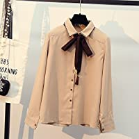 LGK&FA Blouse Girl Student Bows With Long Sleeves Xl Apricot Color