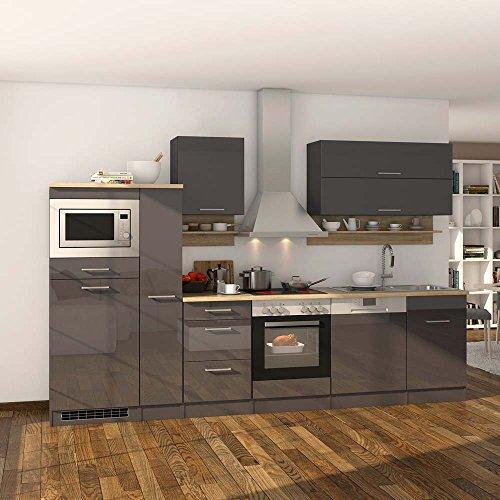 Kücheneinrichtung in grau hochglanz eiche sonoma mit elektrogeräten 14 teilig pharao24