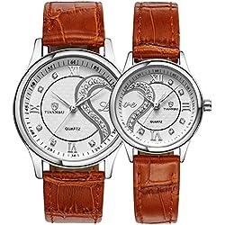 tiannbu fq-102Ultrathin Leder Romantische braun Fashion Handgelenk Uhren für Paar Paar Herren Frauen (Set von 2)
