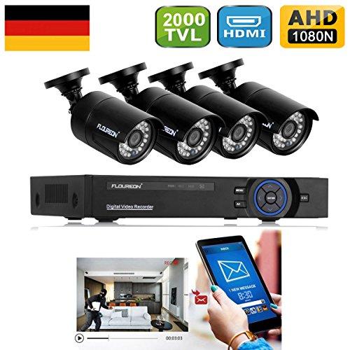 FLOUREON DVR Kit Videosorveglianza (8CH 1080N AHD HDMI DVR + 4 * 960P 2000TVL 1.3MP Telecamera Esterno), Backup USB, Allarme Email, Sistema di Sicurezza, Hard Disk Non Incluso - 2