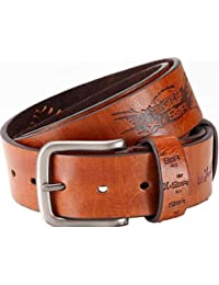 Designer-Gürtel Ledergürtel mit PU, Jeansgürtel mit Prägung + Ziernaht Breite 3,6 cm, unisex, leicht kürzbar