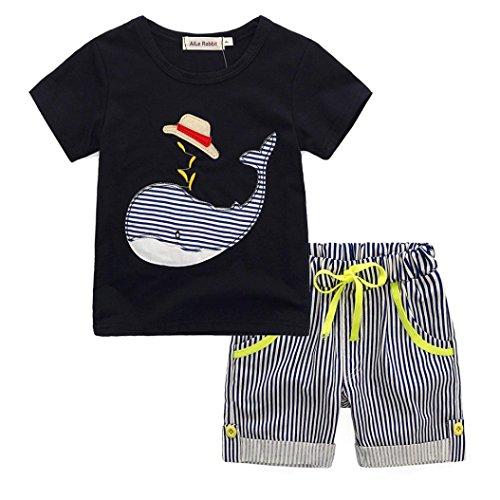 Elecenty 2 Stück Bekleidungssets Junge Outfit Set,Sommer Tägliche Kleidung Set Wal Drucken Kurzarm T Shirt blusen pullover+Streifen Shorts Kordelzug Hose Jungenkleidung Spielanzug (2T, Schwarz)