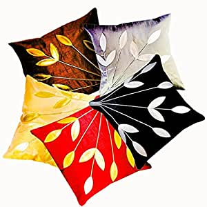 Belive-Me Multicolor Floral Leaves Cushion Covers 16x16 Inches Set of 5