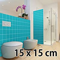 malango® Fliesenaufkleber 15 x 15 cm Klebefliesen Fliesendekor Bad Küche Wandfliesendekoration Fliesendesign 5 Stück haselnussbraun - MATT