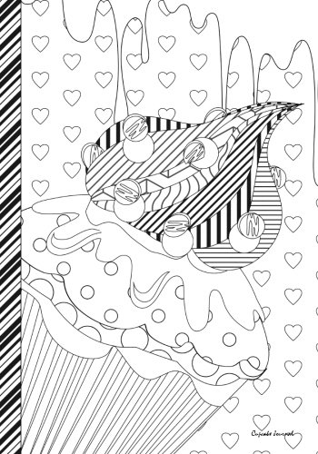 Cupcake Journal: Abstract Cupcake Journal / Notebook: Color Me - Color The Cover (Adult Coloring Cover): 7x10 lined -