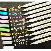 PuTwo Permanente Rotuladores Colores Metálicos para Niños, Álbum de Fotos en Cualquier Superficie, Colores Variados, 10 Unidades