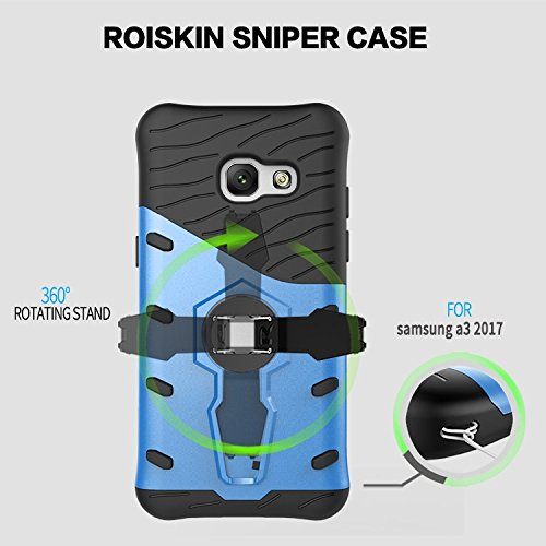 YHUISEN Galaxy A3 2017 Case, Hybrid Tough Rugged Dual Layer Rüstung Schild Schützende Shockproof mit 360 Grad Einstellung Kickstand Case Cover für Samsung Galaxy A3 2017 ( Color : Blue ) Gold