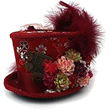 JiuRui Gorros y Sombreros Mad Hatter Tea Party Mini Sombrero de Copa, Rojo Antiguo y