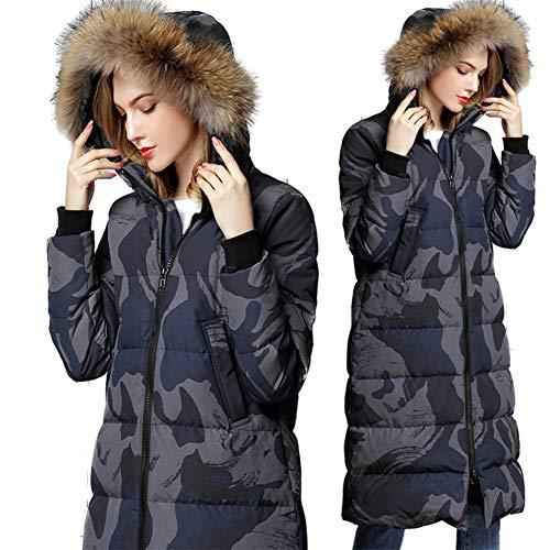 Imzoeyff Frauen Kapuzenjacke Daunenmantel Große Gans Daunenjacke Hohe Qualität Verdickung Lange Knie Winter Warm Lässige Daunenjacke Mantel Stilvolle Elegante,L