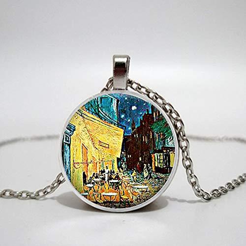 Halskette mit Anhänger Van Gogh Cafe Terrace Art Glas Kabine Halskette Bistro Restauranteur Geschenk Lady Halskette -