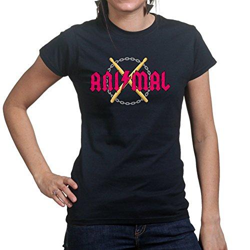 Animal Rock Band Drummer Drums Ladies T shirt Schwarz