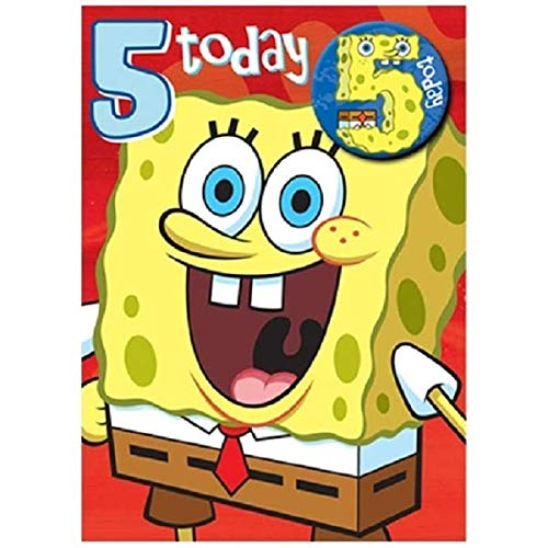 SpongeBob SquarePants - Age 5 Birthday Card With Badge - 5th [Toy] (Spongebob Schwammkopf Party Supplies)