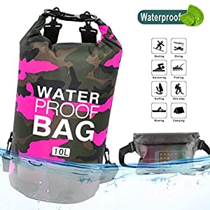 Idefair Bolsa Seca Impermeable, Mochila Seca Flotante Bolsa de Playa Saco seco liviano para la Playa, Paseos en Bote, Pesca, Kayak, natación, Rafting, Camping10L 20L