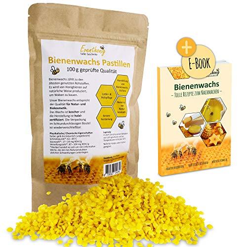 100%natürliche extra kleine Bienenwachs Pastillen vom Imker, zertifiziert für die Herstellung von Kosmetik im lichtundurchlässigen umweltschonenden Beutel für lange Haltbarkeit 100g 200g 500g