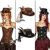 Steampunk Hut Gothic Zylinder schwarz Viktorianische Kopfbedeckung Accessoire Retrofuturismus Zylinderhut Retrolook Punk Kostüm Accessoire