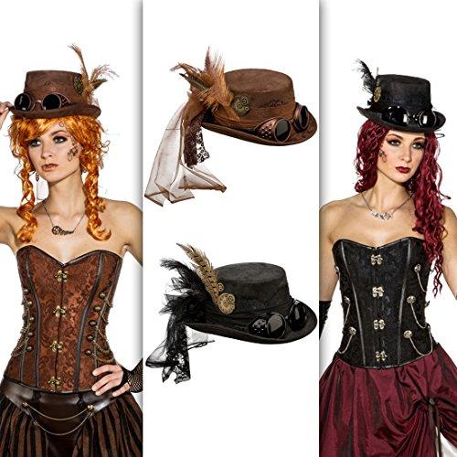 Zylinder schwarz Viktorianische Kopfbedeckung Accessoire Retrofuturismus Zylinderhut Retrolook Punk Kostüm Accessoire (Steampunk Hut Mit Brille)