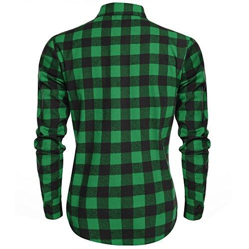 Burlady Herren Karohemd Kariert Hemd Slim Fit Trachtenhemd Super Modern Super Qualität fürs Oktoberfest Geeignet A-Schwarz