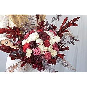 """Blumenstrauß""""The Countess"""" – roter Brautstrauß – Sola Bouquet – Holzblumen – haltbarer Eukalyptus – Hochzeitsstrauß – Verschiede Rottöne"""